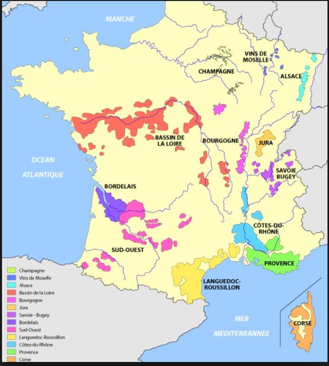 Régions viticoles de France représentées chez le Caviste de la Rue dans sa cave à vins à Asnières-sur-Seine